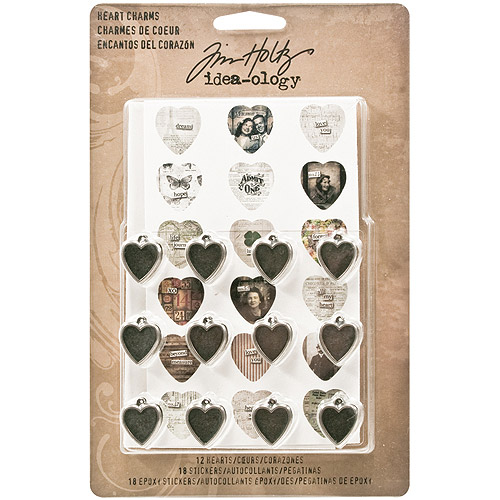 "Idea-Ology Heart Charms, .5"" x .75"", 12pk, 18 Cardstock and 18 Epoxy Stickers"