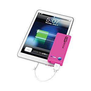 Tzumi Pocket Juice 4000 mAh/2.1A Output Portable Power Bank USB Charger Compatible with iPhones, Samsung Galaxys, Androids, Tablets and other Mobile Devices, Pink