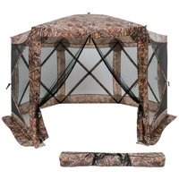 Gymax Portable Pop Up 6 Sided Canopy Instant Gazebo Screen Tent Camouflage