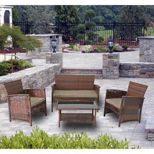 Modern Home Del Mar Woven Wicker 4pc Patio Set by Wicker Furniture