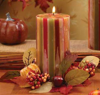 """Pack of 4 Autumn Glow Unscented Fall Striped Pillar Candles 6"""""""