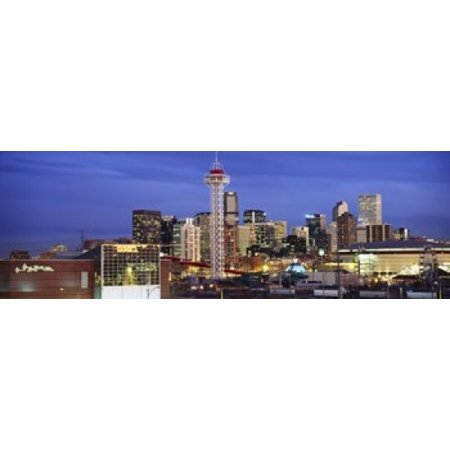 Buildings lit up at dusk Denver Colorado USA Canvas Art - Panoramic Images (18 x 6)