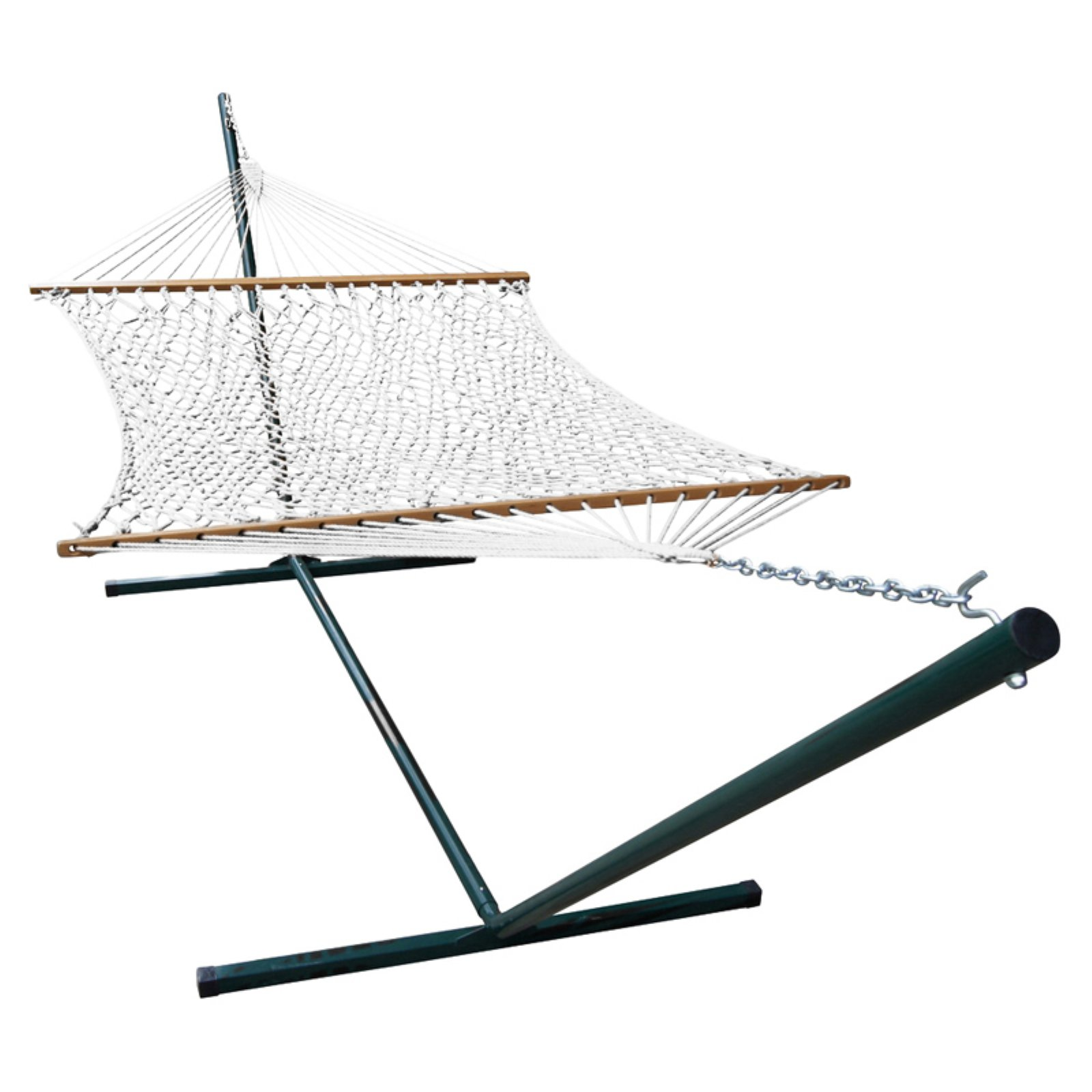 Phat Tommy Polyester Rope Hammock and Green Stand Set