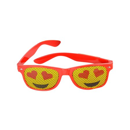 Red Framed Heart Eyes Emoticon Emoji Novelty Glasses Costume Accessory](Novelty Glasses With Eyes)