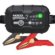 NOCO GENIUS 2 | 2-Amp Fully-Automatic Smart Charger, 6V And 12V Battery Charger, Battery Maintainer, Trickle Charger, And Battery Desulfator With Temperature Compensation