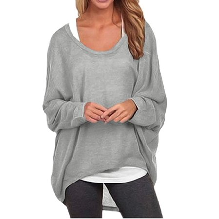 DYMADE Women's Sexy Long Batwing Sleeve Loose Pullover Casual Top Blouse (Sexy White Halter)