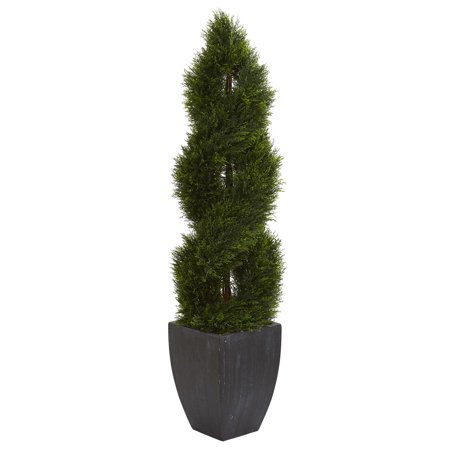 Cypress Topiary Tree - Nearly Natural 5 ft. Double Pond Cypress Spiral Topiary Artificial Tree in Black Wash Planter UV Resistant (Indoor/Outdoor)