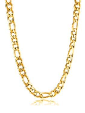 Coastal Jewelry Gold Plated Stainless Steel Figaro Chain Necklace