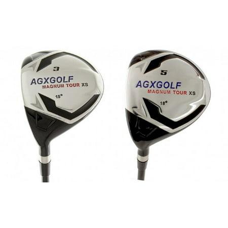 - AGXGOLF Men's MAGNUM 3 & 5 Fairway Woods Set (15, 18 Degree): Graphite Shafts + Head Covers Left Hand, Regular Flex, Regular Length