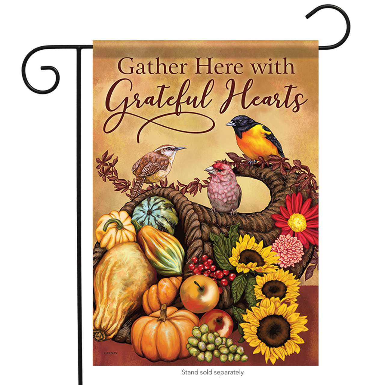 "Songbird Cornucopia Thanksgiving Garden Flag 2 Sided Apples Banner 12.5"" x 18"""