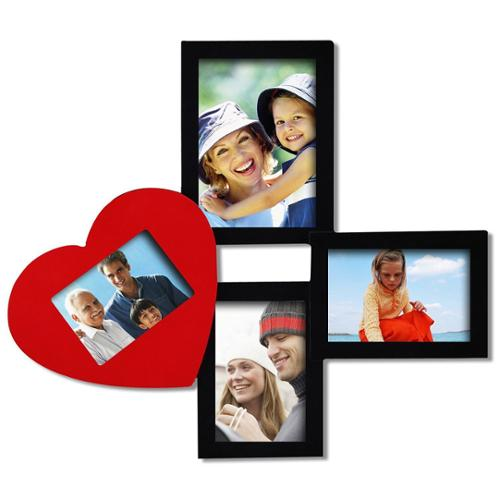 Adeco  Decorative Black/ Red Wood Wall Collage Photo Frame with 4 Various-sized Openings