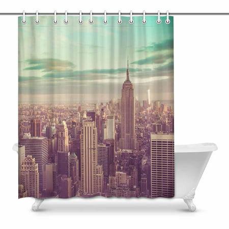 MKHERT New York City Skyline Manhattan NYC House Decor Shower Curtain For Bathroom Decorative Fabric Bath