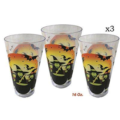 3 halloween spooky ghost, witch, party cups, great halloween party favor, large 16 oz. by 4es novelty,