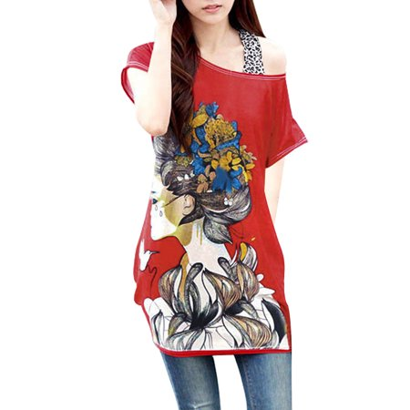 Unique Bargains Women's Shirred Side Loose Fit Printed Tunic