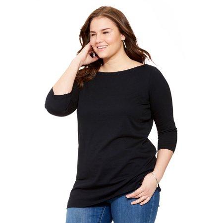 Boatneck Top Shirt (Plus Size Boatneck Three-quarter Sleeve Perfect)