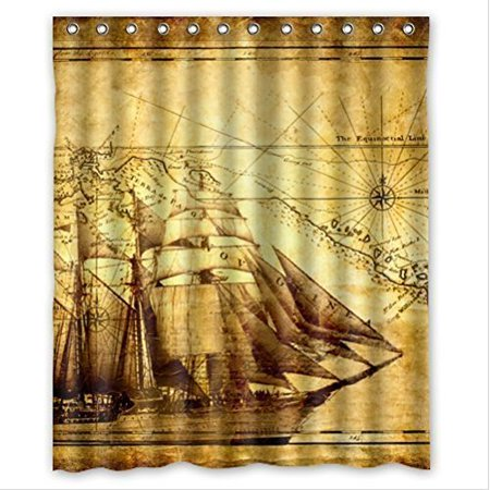 XDDJA Pirate Ship and Map Shower Curtain Waterproof Polyester Fabric Shower Curtain Size 60x72 inches - image 1 of 1