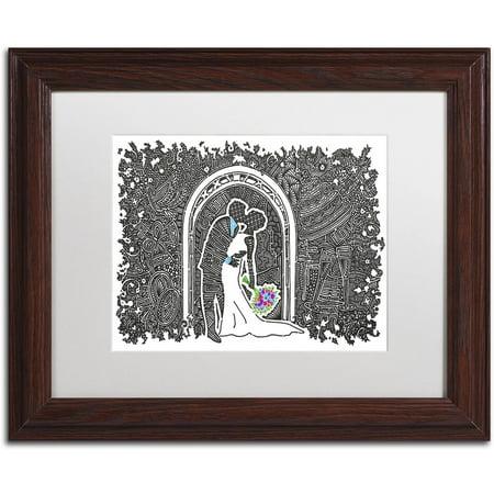 Trademark Fine Art 'Wedding Kiss' Canvas Art by Viz Art Ink, White Matte, Wood Frame