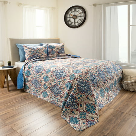 2pc Reversible Microfiber Embossed Quilt Bedding Set With Shams by Somerset Home