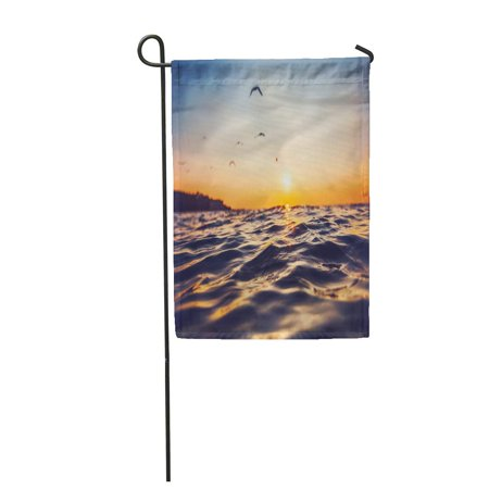 LADDKE Orange Sea Sunrise Light Shining on Ocean Wave Blue Dramatic Garden Flag Decorative Flag House Banner 12x18 (Sunrise Glossy)