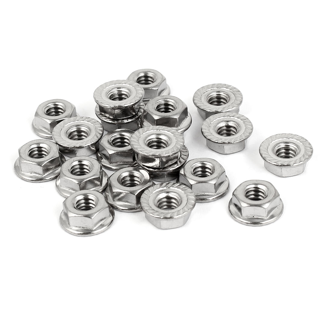 "1/4""-20 304 Stainless Steel Serrated Flange Hex Machine Screw Lock Nuts 20pcs"