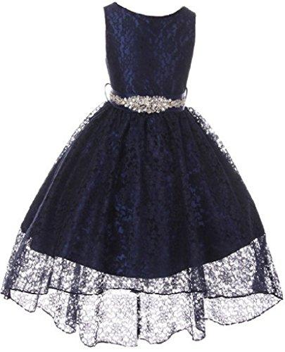 Big Girls Floral Lace High Low Rhinestones Special Occasion Flower Girl Dress Blush 10 (M3B6K0CB)