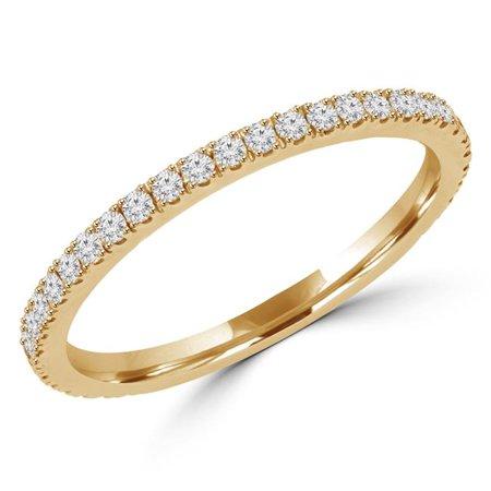 Majesty Diamonds MD170315-5.5 0.25 CTW Round Diamond Semi-Eternity Wedding Band Ring in 14K Yellow Gold, Size 5.5 - image 1 de 1