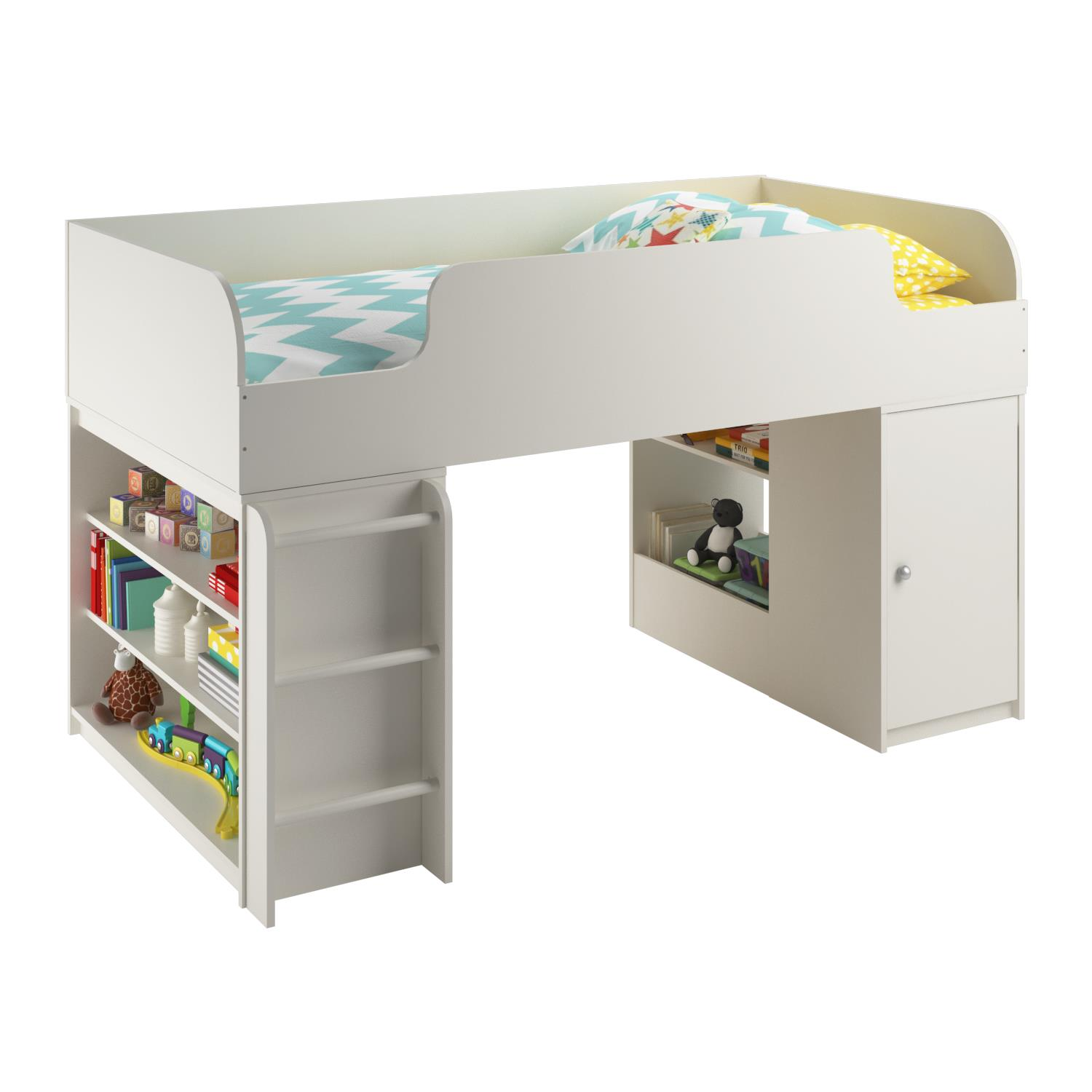 Ameriwood Home Elements Loft Bed with Bookcase and Toy Box Bookcase, White