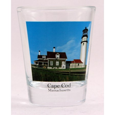 Cape Cod Massachusetts Lighthouse Collectible Photo Shot Glass (Avon Cape Cod Ruby Glass)
