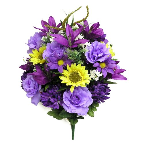 Admired by Nature 33 Stems Artificial Full Blooming Sunflowers, Rose, Lily and Black Eyed Susan with Foliage Mixed Bush