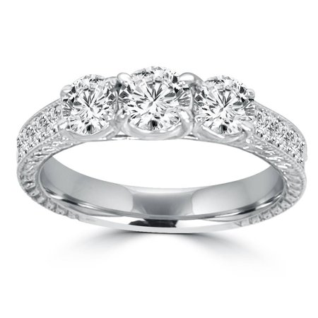 1 1/2ct Vintage Three Stone Round Diamond Engagement Ring 14K White Gold - image 3 de 3