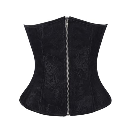 SAYFUT Women's Classic Jacquard Plus Size Underbust Corset Bustier Body Shaper Halloween Costume Corset Top with G-String - Corset Tops Halloween