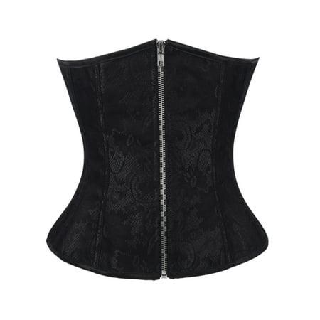 SAYFUT Women's Classic Jacquard Plus Size Underbust Corset Bustier Body Shaper Halloween Costume Corset Top with G-String
