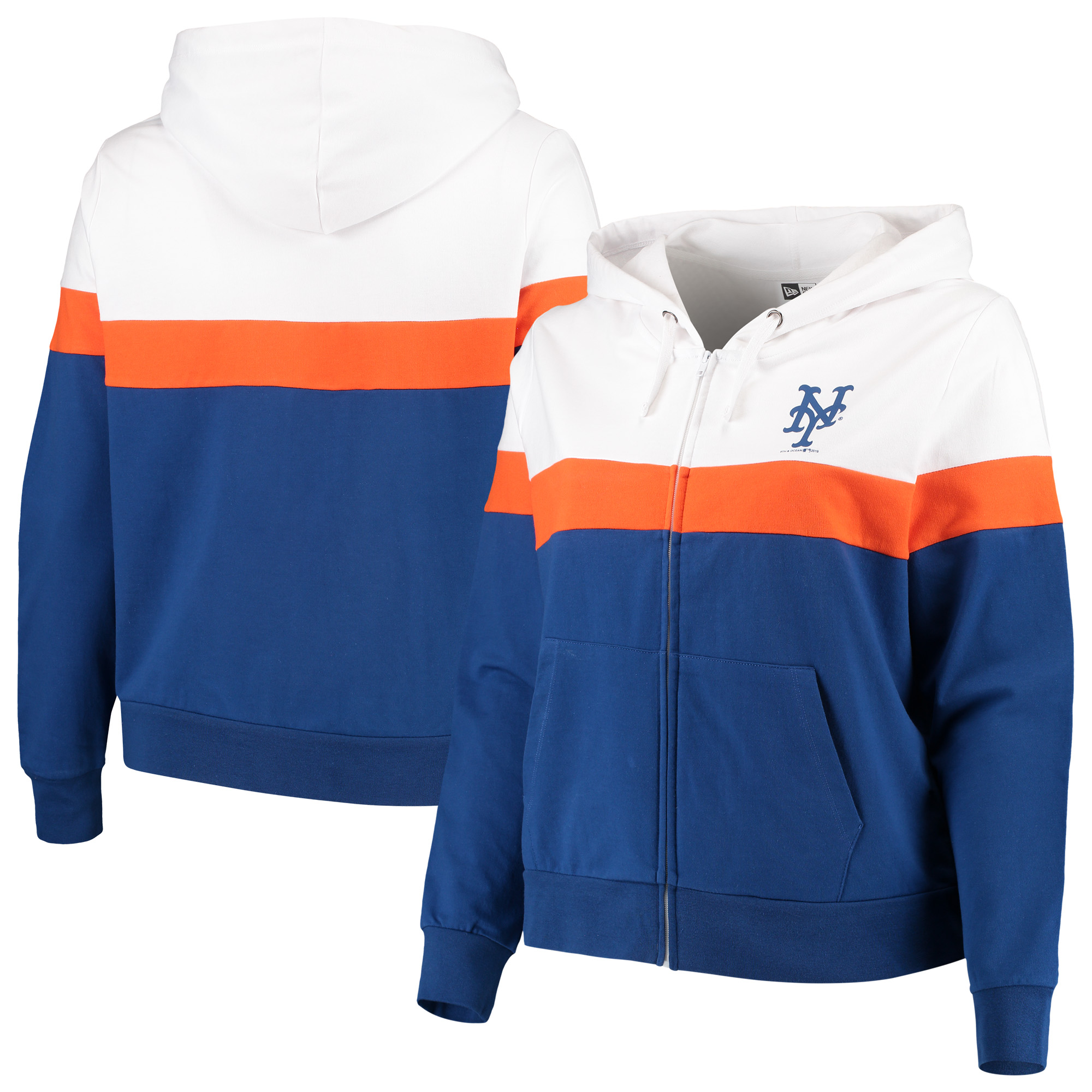 New York Mets New Era Women's Plus Size Colorblock French Terry Full-Zip Hoodie - Royal/White