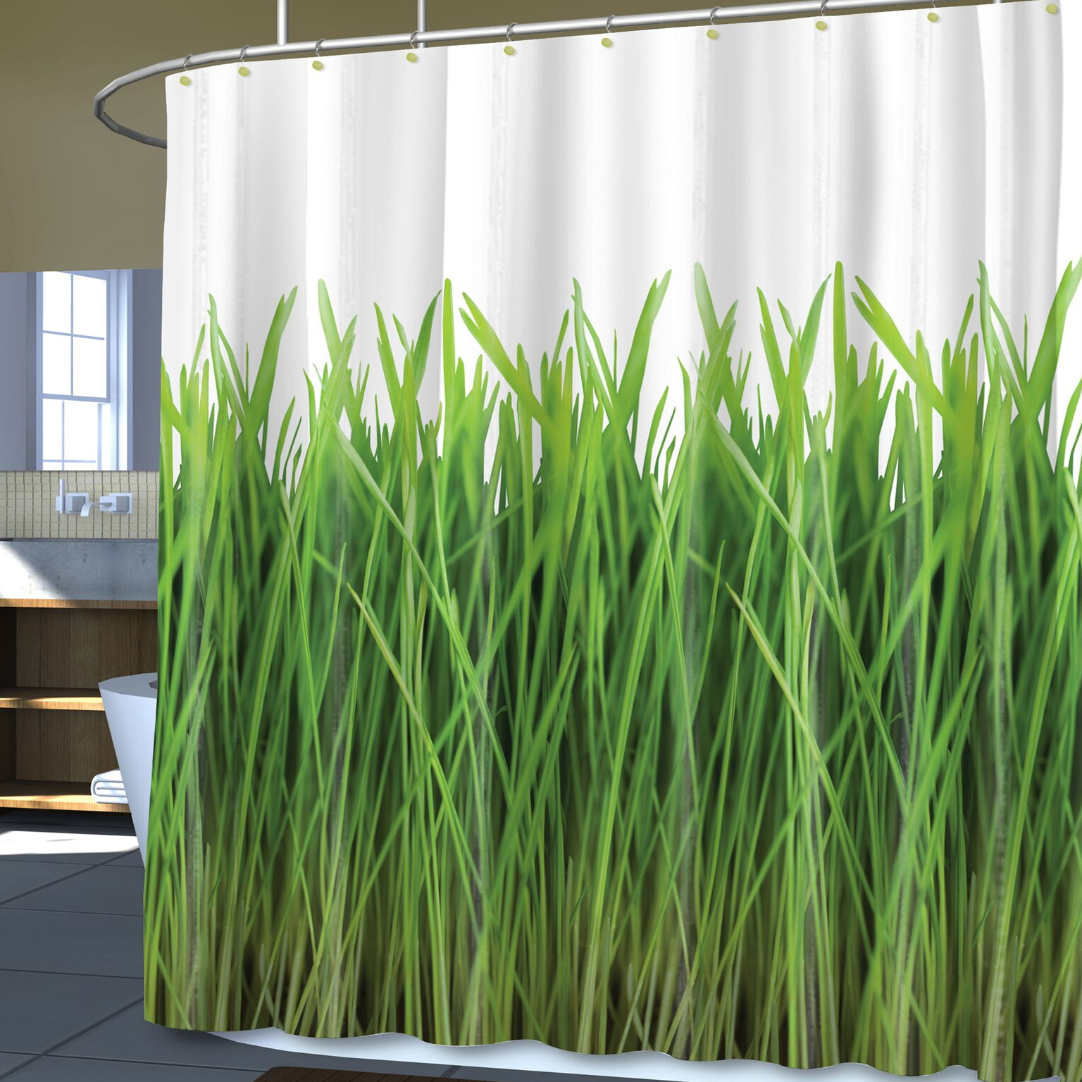 "Grass Print PEVA Shower Curtain (70""x72"") Green"