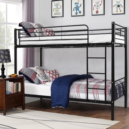 Costway Metal Twin Over Twin Bunk Beds Ladder Kids Teens Dorm Bedroom  Furniture Black