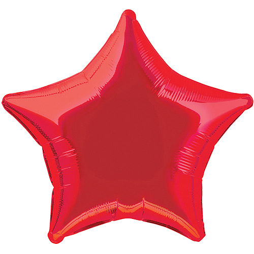 Foil Balloon, Star, 20 in, Red, 1ct