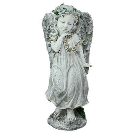 Northlight Heavenly Gardens Angel Girl with Floral Crown Outdoor Garden Statue