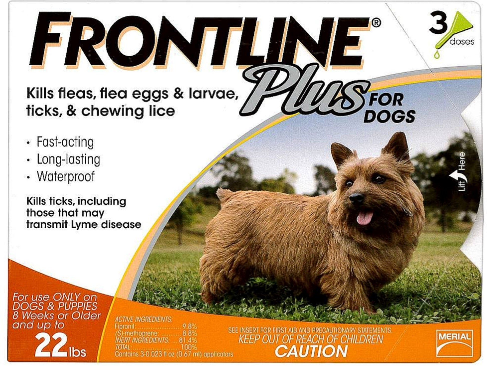 2 Pack Frontline Plus Flea & Tick Control For Small Dogs 3 ea by