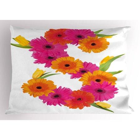 Garden Essence (Letter S Pillow Sham Fragrance C Garden Flourishing Nature Essence of Nature in Alphabet, Decorative Standard Size Printed Pillowcase, 26 X 20 Inches, Orange Hot Pink Green, by)