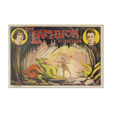 The Lambion Attraction Vintage Poster France (12x8 Acrylic Wall Art Gallery Quality)