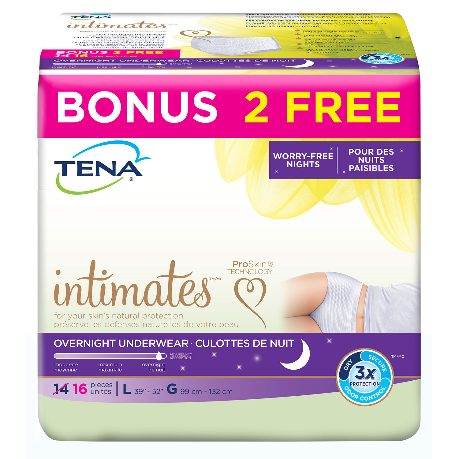 Tena Intimates Incontinence Underwear, Overnight, Large, 16 Count Bonus Pack