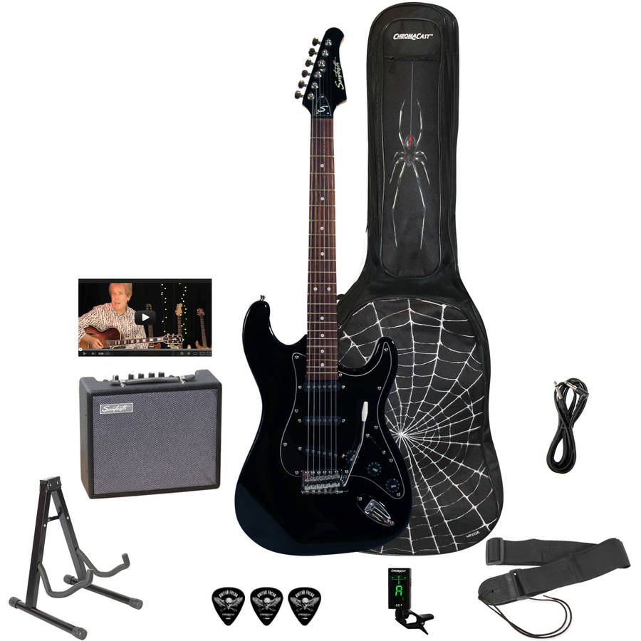 Sawtooth ES Series Rockin Beginner's Electric Guitar Pack with ChromaCast Spider Graphic Gig Bag and Accessories