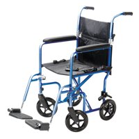 Carex Steel Transport Wheelchair with 19-inch Seat, Folding Back, and Swing-away Footrests, Blue