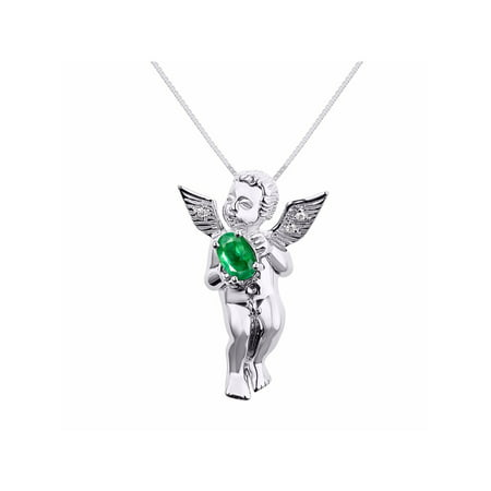 Diamond & Emerald Lucky Guardian Angel Cherub Pendant Necklace Set In Set in Sterling Silver With 18