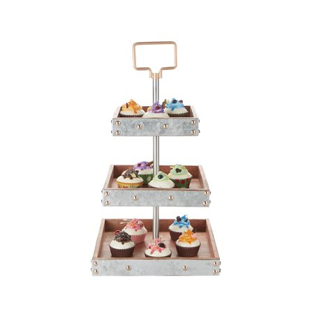 Mind Reader 3 Tier Square Stand, Party Pastry Display, Cupcake Stand Holder, Tree Tower Display Stand, Tiered Serving Dessert Display Tray, Silver - Cupcake Tray