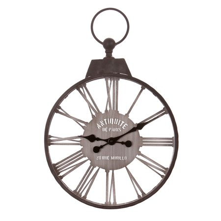 18 Inch Rustic Metal Cut Out Roman Numeral Pocket Watch Wall Clock with Antique Handle