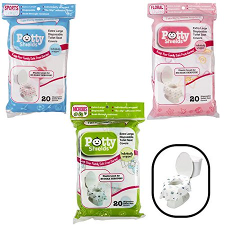 Toilet Seat Covers- Disposable XL Potty Seat Covers, Individually Wrapped by Potty Shields - Extra-Large, No Slip (Original- 20 (Potty Topper Disposable)