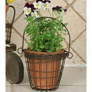 Round Basket with Handle and Terra Cotta Pot in Green/Rust