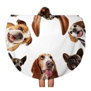 NUDECOR 60 inch Round Beach Towel Blanket Cute Group of Dogs Taking Selfie on Cell Phone Travel Circle Circular Towels Mat Tapestry Beach Throw