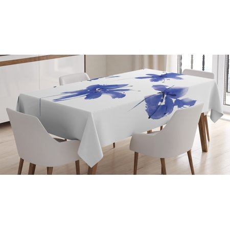 Traditional House Decor Tablecloth, Oriental Ancient Watercolor Inspired Plum Blossom Petals Eastern Artwork, Rectangular Table Cover for Dining Room Kitchen, 52 X 70 Inches, Blue, by Ambesonne